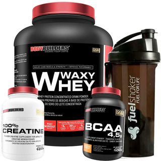 Kit Whey Protein 2kg + Bcaa + Creatina + Fuel Shaker
