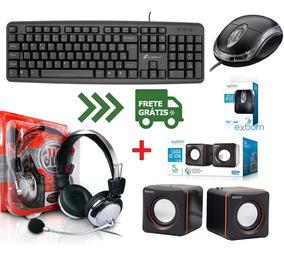 Kit Gamer Teclado + Mouse Caixa Som + Fone De Ouvido Headset