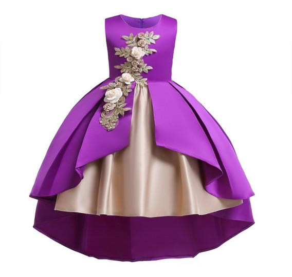 Vestido Fiesta Niña Elegante Cola De Pato Beige Violeta