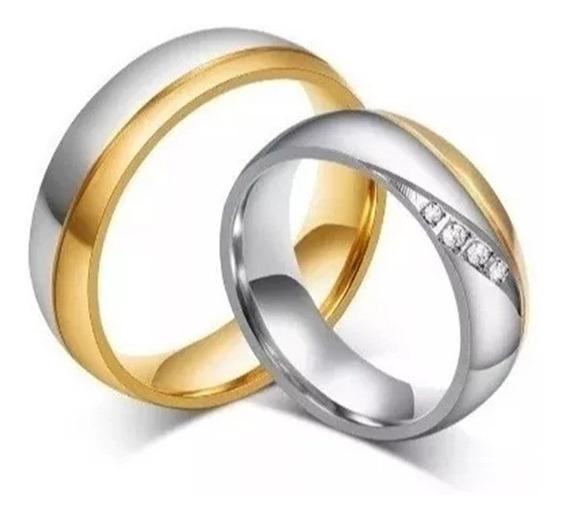 Aliança Par Romântica Linda Noivado Namoro Inox Banho Ouro