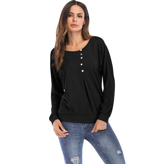 Ronda Collar Largo Manga Botón Suelto Mujeres T -camisa