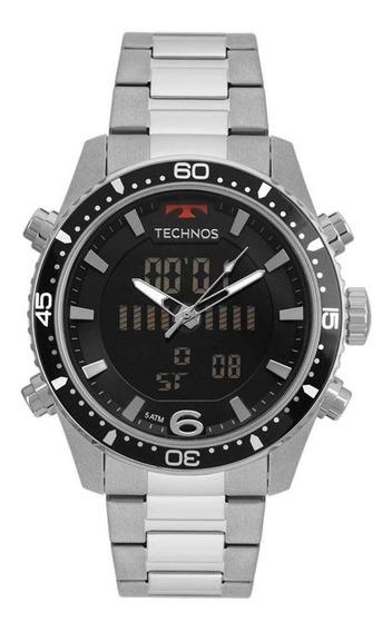 Relógio Masculino Anadigital Technos Prata Aço Caixa Grande