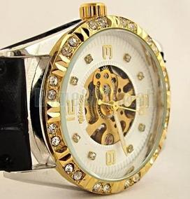 Relógio De Luxo Skeleton Feminino Strass Dourado Winner