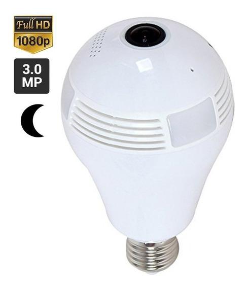 Lampara Hd 360° Ojo Pez Espia Wifi Led Ip Camara Graba 128gb