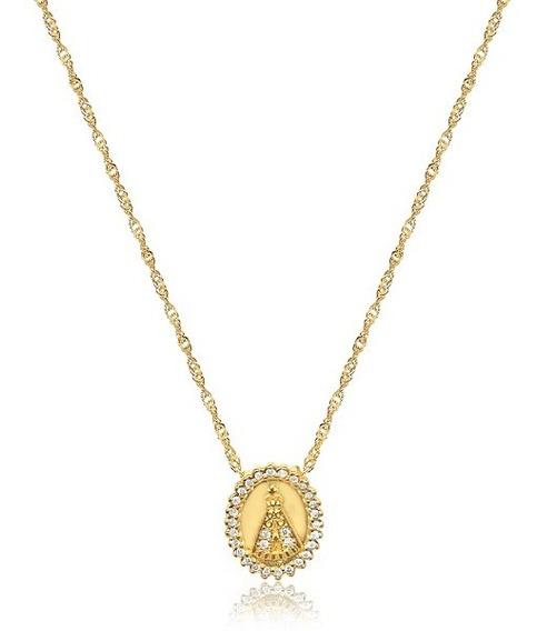 Colar Nossa Senhora Mandala Zirconias Banhada A Ouro Amarelo