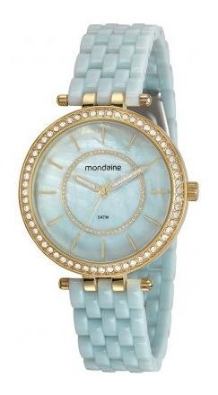 Relógio Mondaine Feminino Dourado Azul 53664lpmvde1