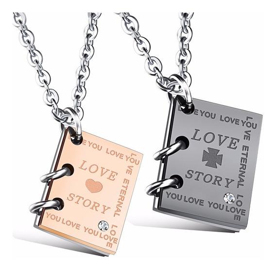 Collar Parejas Con Diario Love Story Acero Inoxidable - 397