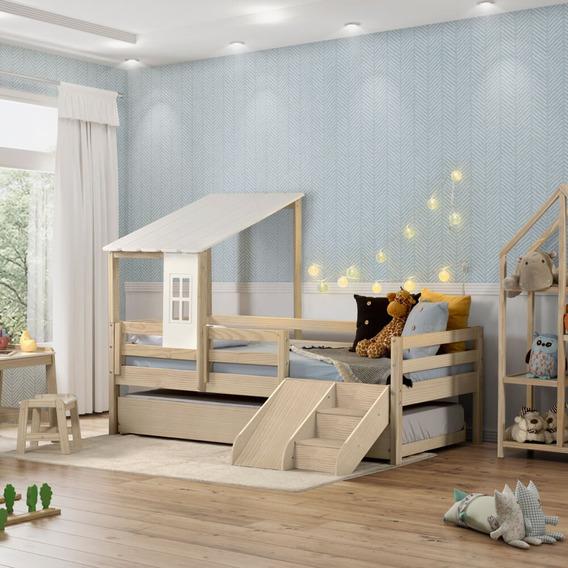 Bicama Infantil Prime Telhado Ii E Escada/escorrega Casatema