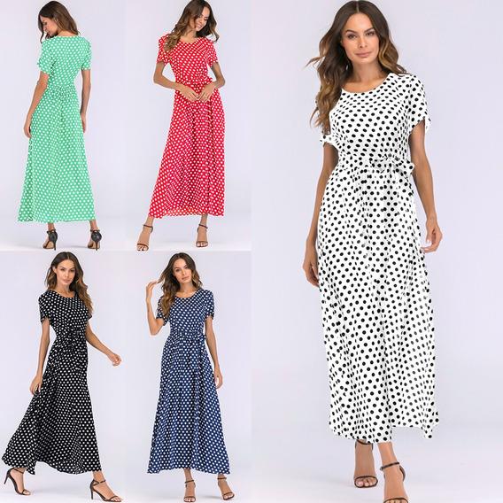 Moda Mulheres Longo Polca Ponto Vestido Manga Curtas Cintura