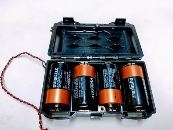 Suporte Para 4 Pilhas Grande Tipo Lr20 1,5v, Caixa Plastica