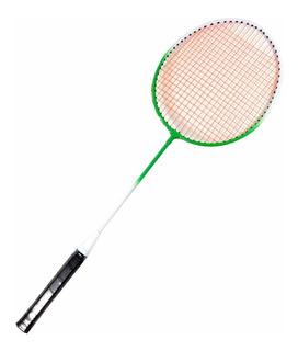 2 Raquetes De Badminton Verde E Branco + Bolsa Raqueteira