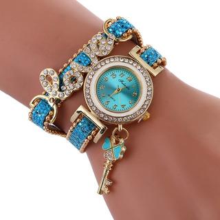 Lago Azul Mulheres Diamante Círculo De Amor Pulseira Relógio