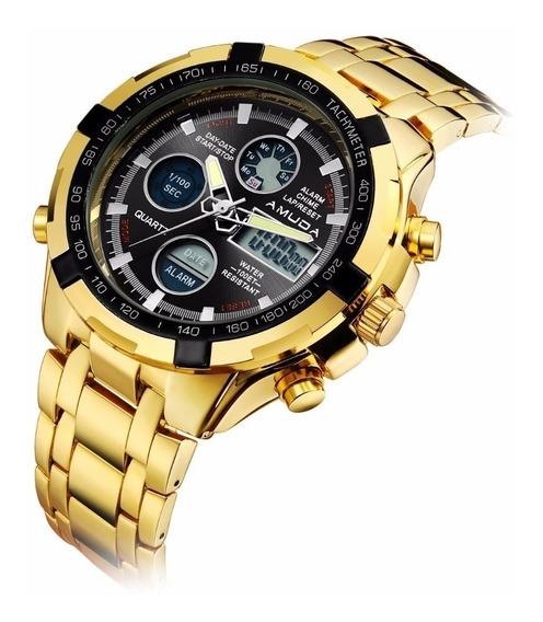 Relógio Amuda Am2002 Masculino Dourado Analógico Digital