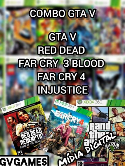 Gta V+ Red Dead +3 Jogos Mídia Digital Xbox 360