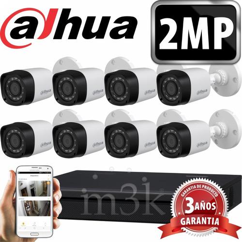 Kit Seguridad Dahua Full Hd Dvr 8 +  8 Camaras 2mp 1080p Exterior Infrarrojas + Ip Visualiza X Celular P2p Cctv