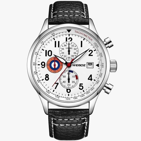 Relógio Masculino Social Couro Weide Cronógrafos Funcionais