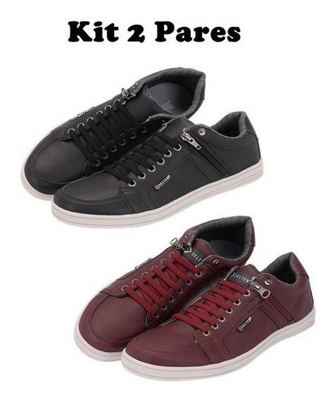 Sapatenis Masculino Sapato Cadarço D Elástico Ziper Lat 1419
