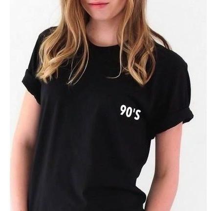 T Shirt Moda Anos 90 Camisetas Femininos Curta Com O