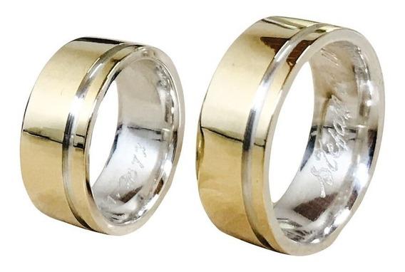 Par Aliança 8mm Prata 925 Revestida Em Ouro 18k Casamento