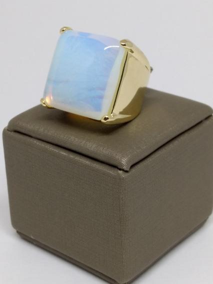 Anel Feminino Folheado Ouro 18k Pedra Da Lua Esposa C366