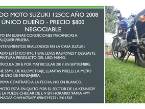 Vendo Moto Suzuki 125cc Año 2008 Único Dueño Precio $800 Neg