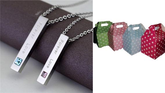 Collar Para Parejas Barritas Acero Novia Novio + Caja Regalo