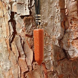 Colar Pedra Do Sol Em Ponta Pedra Natural Com Fecho Pp-13