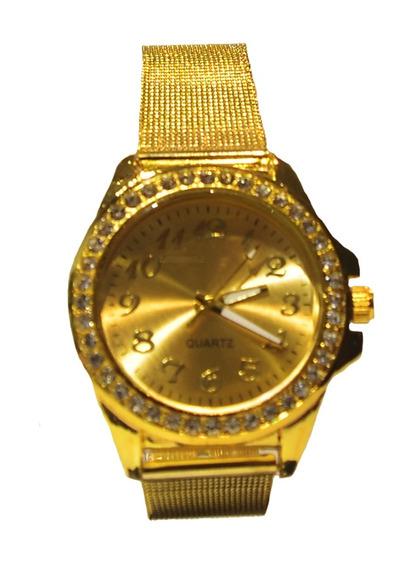 Relógio Quartz Em Metal Inoxidável Feminino - Ouro