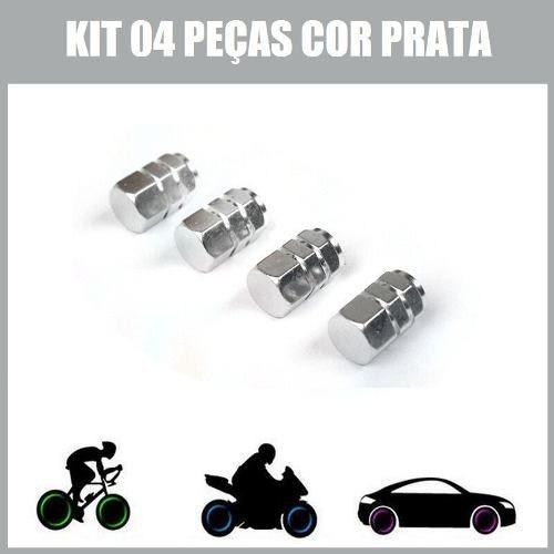 04 Tampas Bico Válvula Do Pneu Carro Moto Bike P R A T A