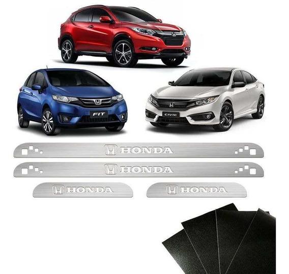 Kit Soleira Honda Civic Hr-v Fit City Com Protetor De Porta