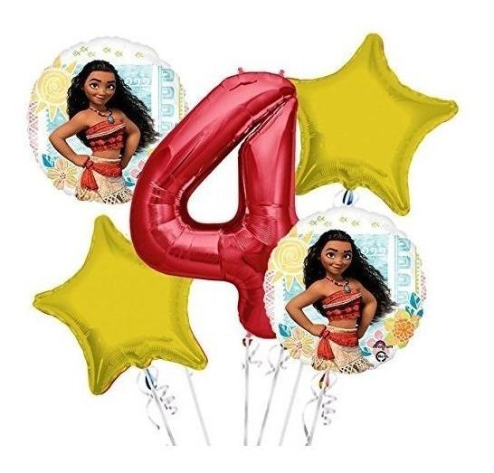 Moana Balloon Bouquet 4th Birthday 5 Piezas - Artículos De F