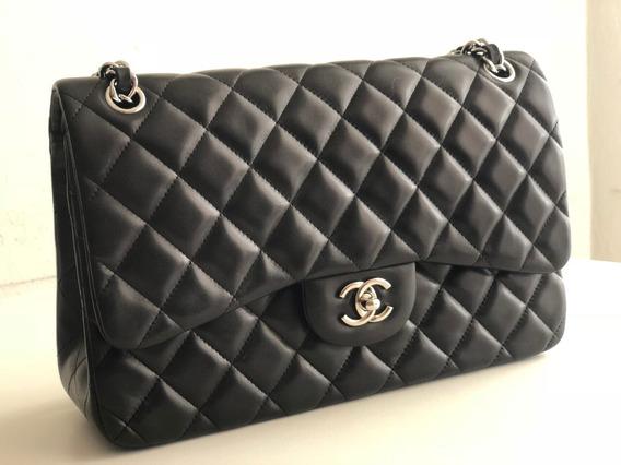 Bolsa Chanel Classic Flap Jumbo Lambskin Preta Na Caixa