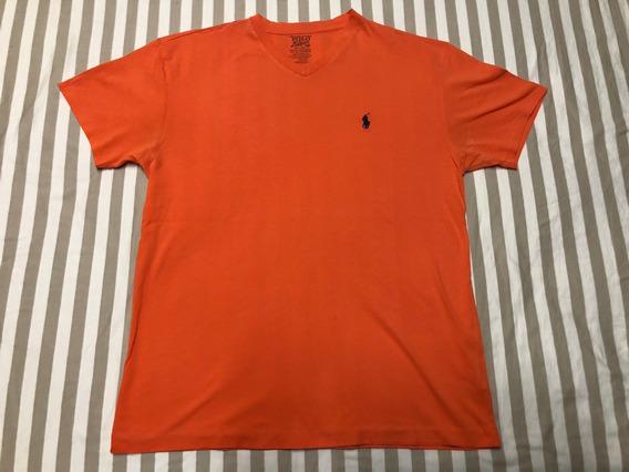 Polo Ralph Lauren Camisa Naranja Caballo S Small Cuello V