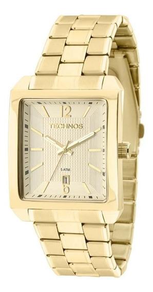 Relógio Technos Masculino Ref: 2115kob/1d Retangular Dourado