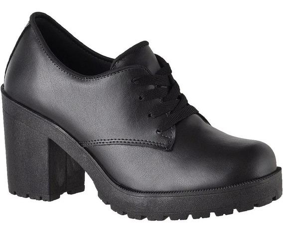Sapato Oxford Salto Alto Tratorado Feminino Lançamento