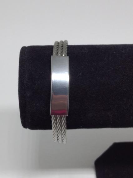 Pulseira Masculina Aço Prata Folheada Presente Marido C791