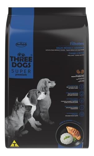 Imagen 1 de 2 de Three Dogs Super Premium Cachorro Medium 3 Kg Con Regalo