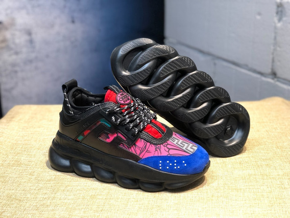 Tênis Versace Chain Reaction Black,pink And Blue