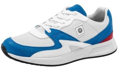 Tenis Casual Caballero Blanco Azul Neosport