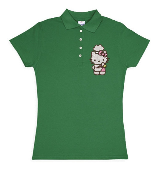 Playera Polo Hello Kitty Chef Colores Bordada Opcion Personalizada