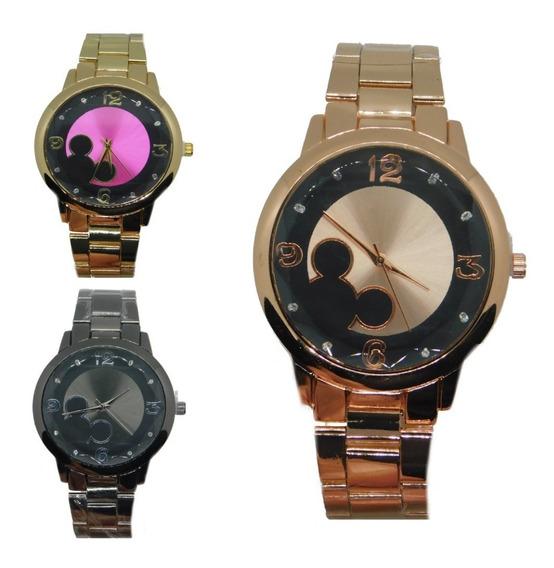 Relógio Feminino Mickey Blogueira Dourado Rosê Prata Preto