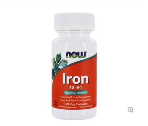 Ferro 18mg Now Foods Importado 120 Cápsulas Bisglicinato