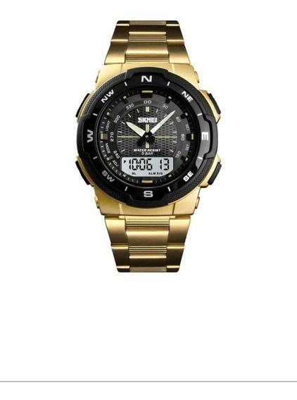 Relógio Sport Digital Dourado Luxo Masculino Skmei Original