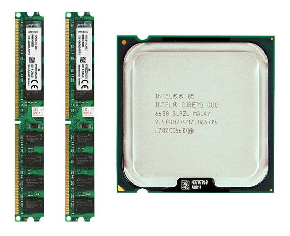Kit 4gb Memoria Ddr2 (2x2) 800mhz + Core 2 Duo E6600