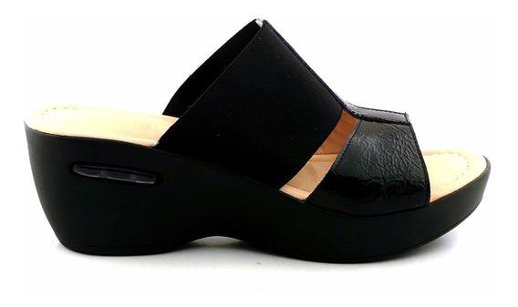 Sandalia Mujer Zueco Zapato Negro Charol Promo - 48016