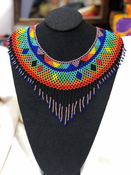 Collar Pectoral De Flecos Multicolor Tejido En Mostacilla