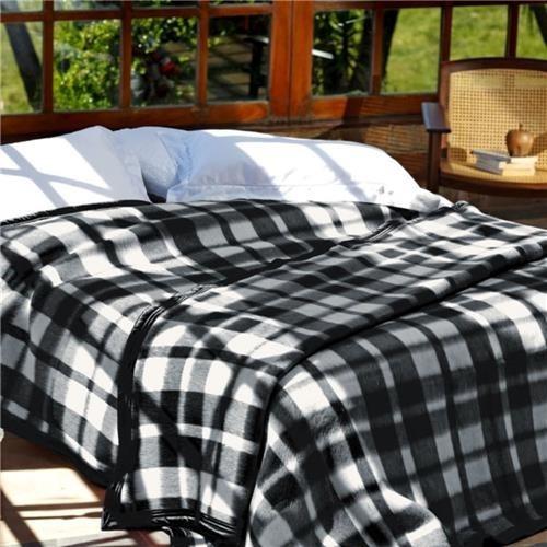 Cobertor Solteiro Guaratinguetá Boa Noite Xadrez Preto