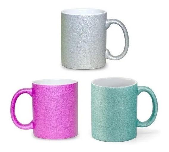 Caneca Glitter Para Sublimação Porcelana Rosa Verde Prata