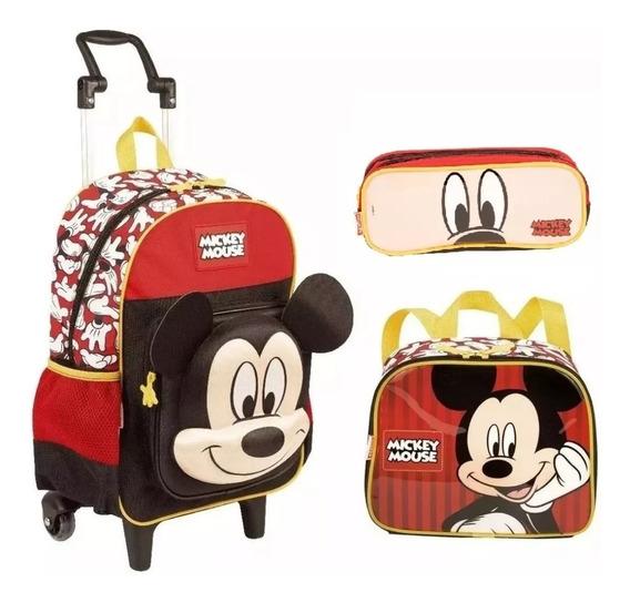 Kit Mochila Mickey Mouse Alto Relevo Escolar Infantil Rodinhas 19y Tam G Lancheira Especial E Estojo Sestini