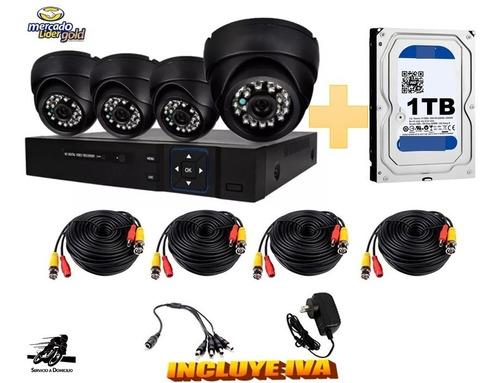 Imagen 1 de 6 de Kit Cctv 4 Cámaras Seguridad Vigilancia + Disco Duro 1000gb